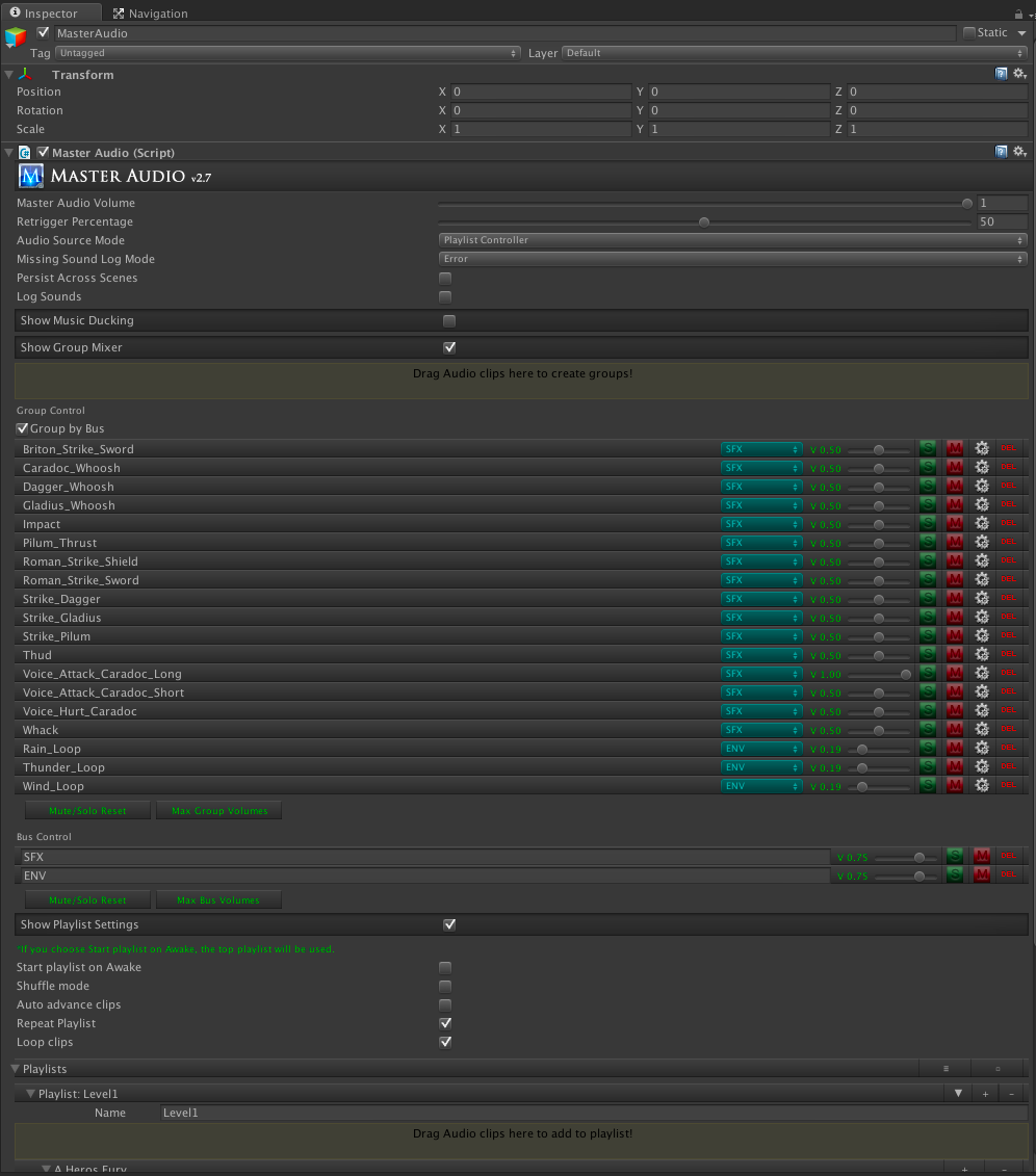 Master audio inspector lets us set up the sounds in each scene